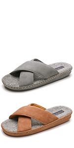 Men's Slippers with Orthopedic Arch Support, Faux Leather Open Toe House Shoes, Cross Band Sandals