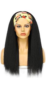 Natural Yaki straight Headband wigs for women