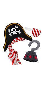 Sombrero pirata parche ojo gancho pirata