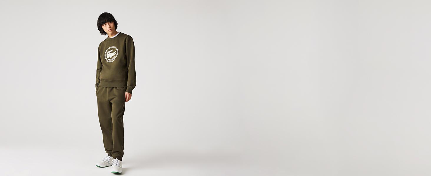 Lacoste unisex sweatshirt in khaki cotton