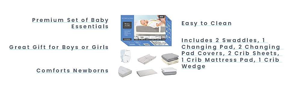 Delta Children 9-Piece Nursery-in-a-Box Newborn Baby Gift Set for Boys and Girls