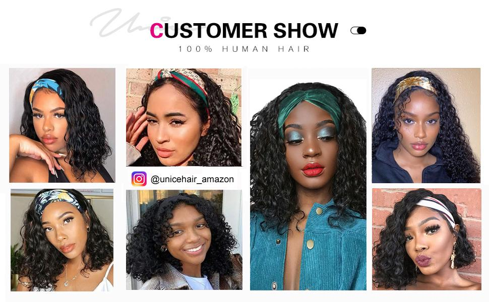 headband wigs for black women Headband bob wig human hair water wave Headband none lace front