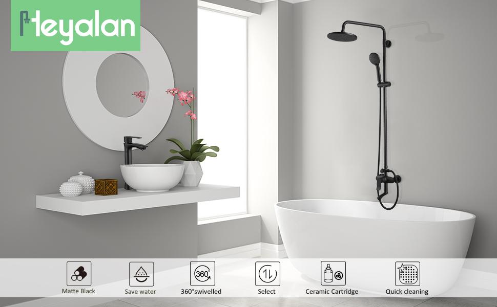 matte black shower faucet set