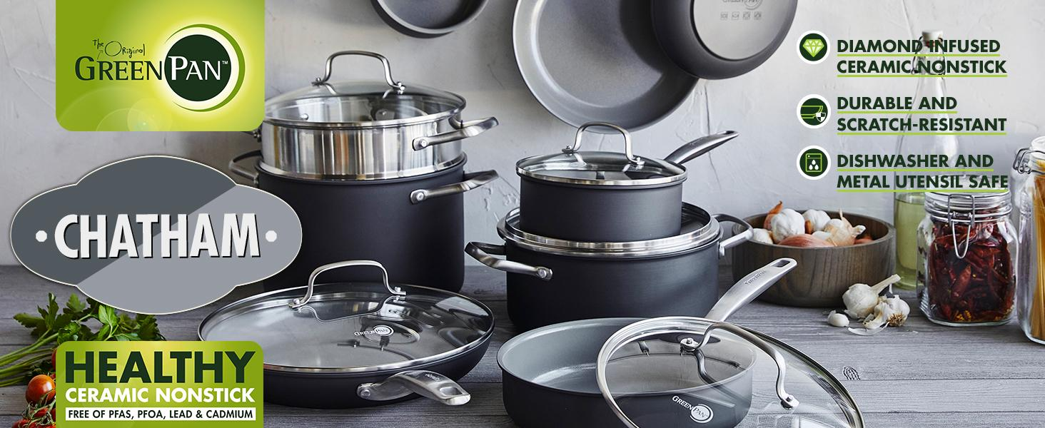 GreenPan, Chatham, Healthy Ceramic Nonstick, Pots and Pans, Cookware set, hard anodized, durable