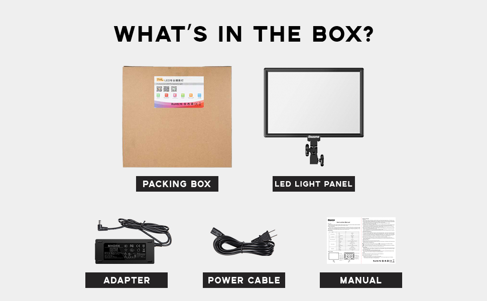 1x Led Light Panel, 1x Power Adapter,NOTE:Not include wireless remote control,batteries,light stand