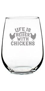 Text says Life is Better with Chickens, with two chickens engraved on either side
