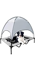 Elevated Dog Cot With Canopy