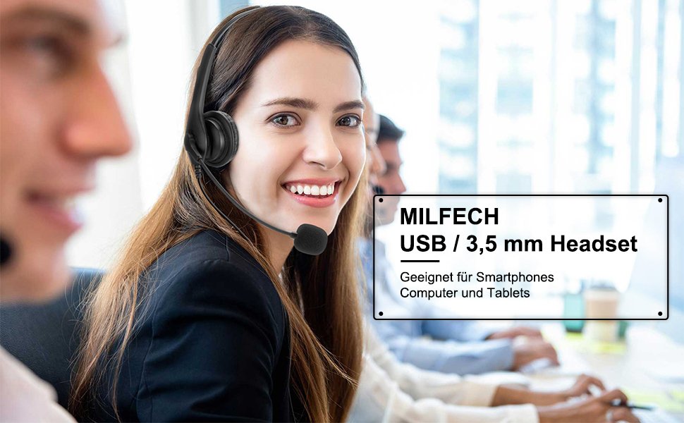 MILFECH USB / 3,5 mm Kabel Universal Computer Headset mit Mikrofon