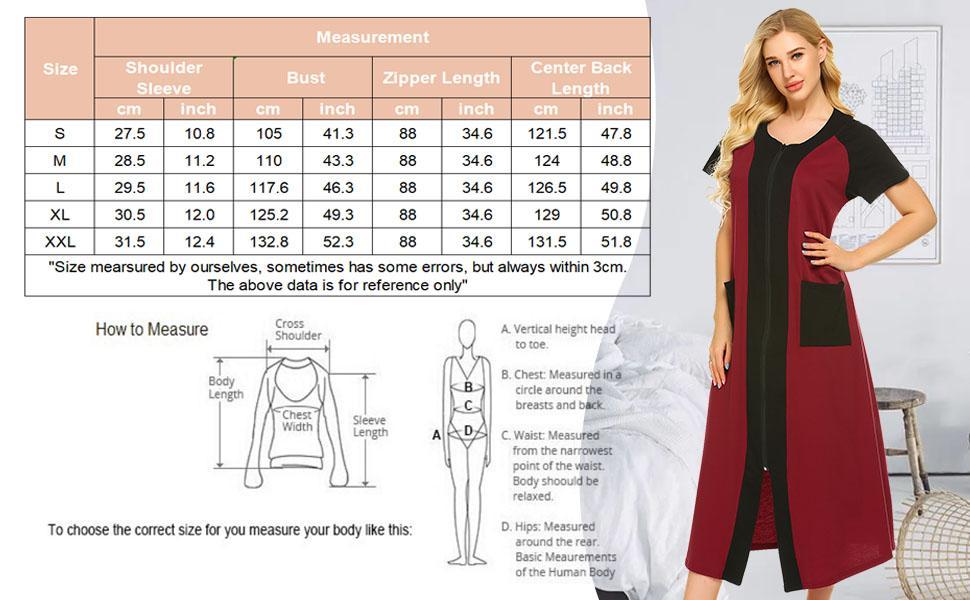 petite plus size housecoat short sleeve zipper robe