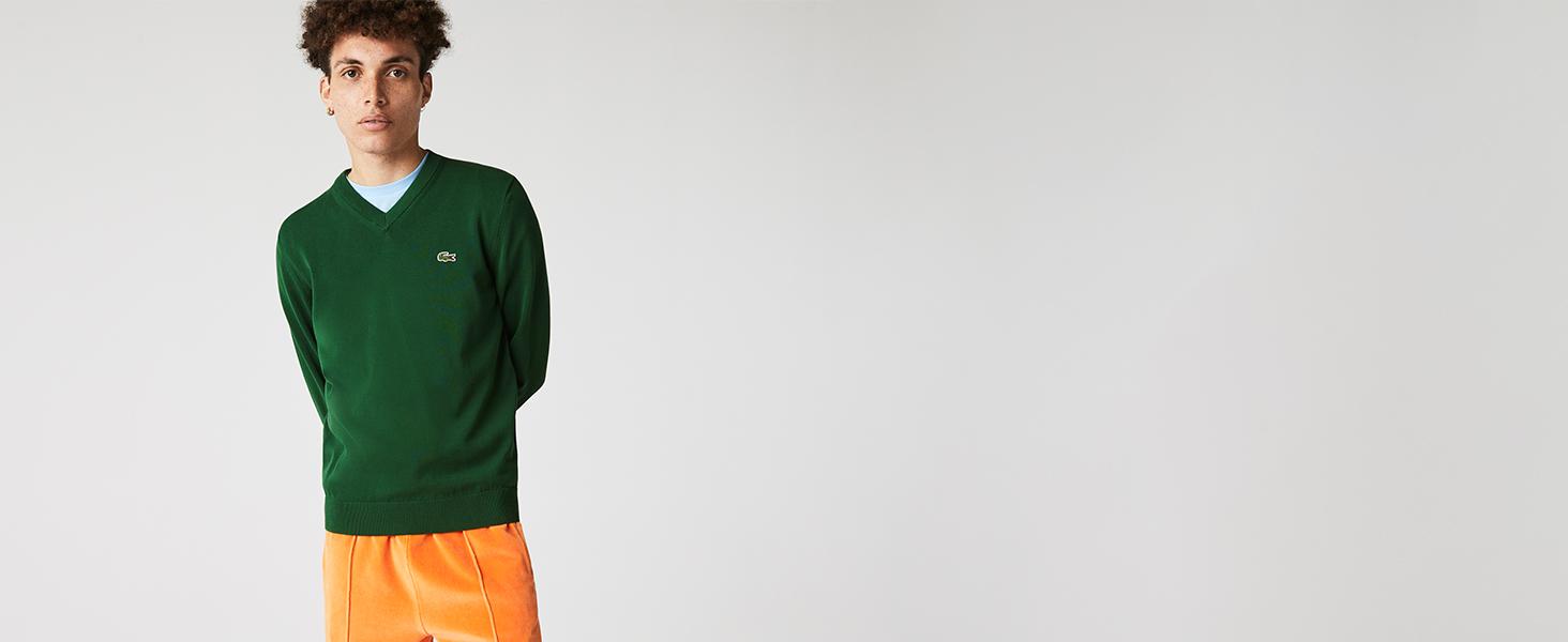 Lacoste green V-neck pullover for men