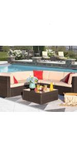 6 piece patio sofa