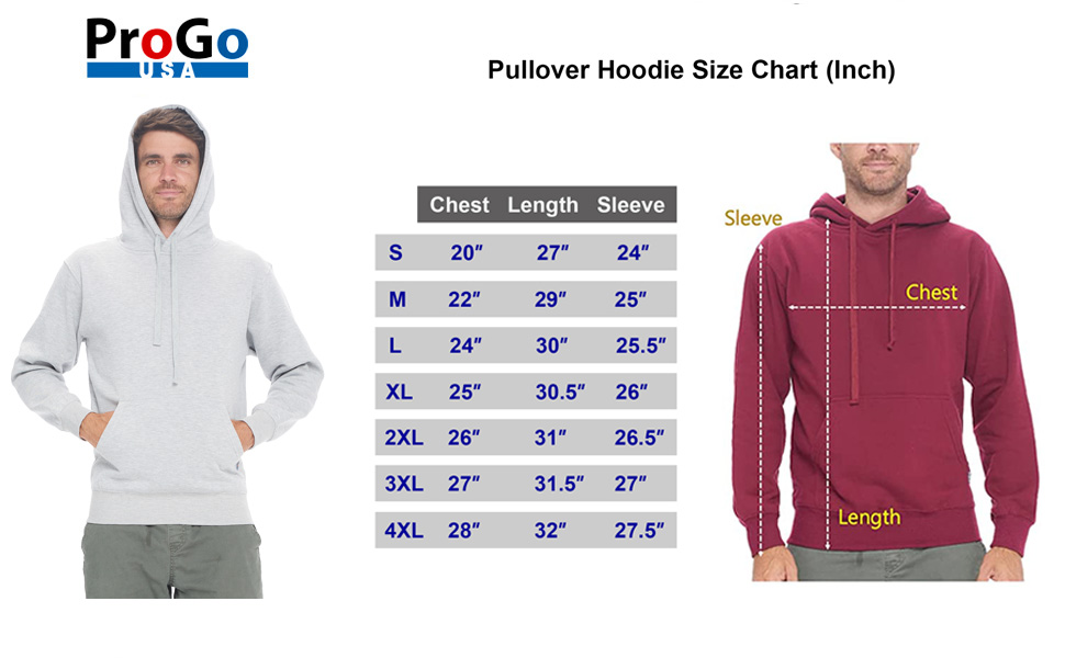 Pullover Hoodie Size Chart
