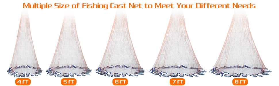 Multiple Size of Fishing Cast Net