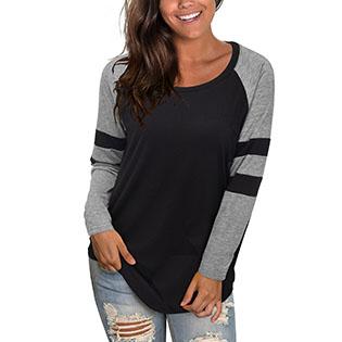 Long Sleeve Raglan Striped Color Block T Shirts