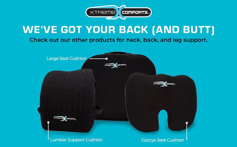 seat cushion, lumbar support cushion, and coccyx cushion
