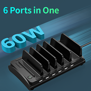 60W multi port charger station