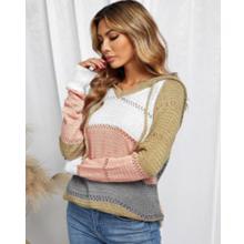 Actloe Lightweight Drawstring Color Block Sweatshirts