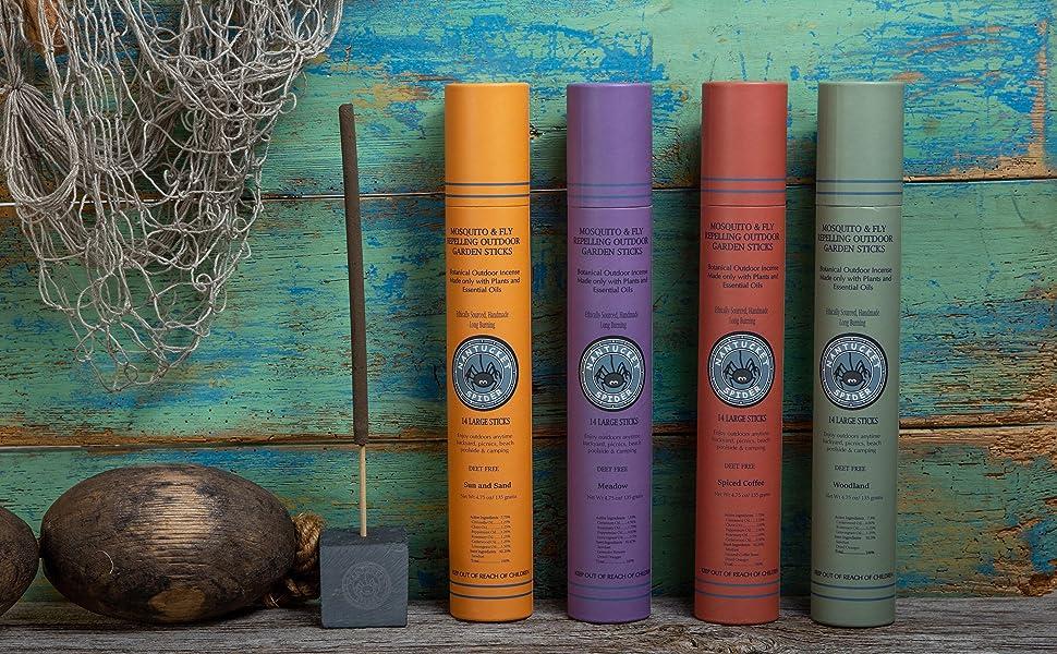 Four varieties of Nantucket Spider's incense sticks against blue background