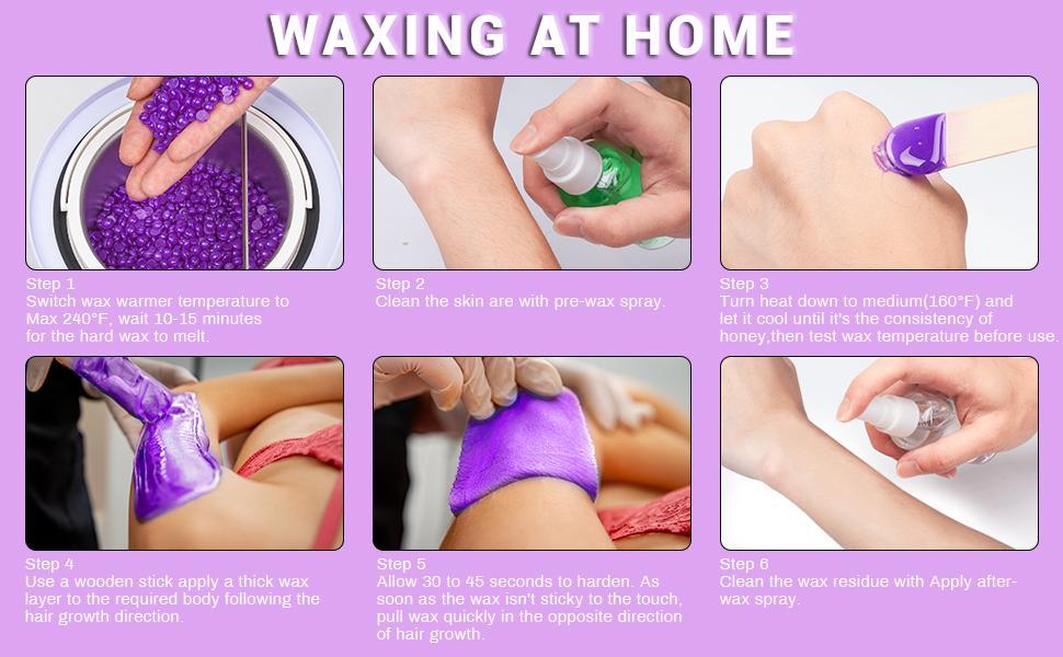 6 WAXING STEPS, turn on wax machine, clean skin,test wax temperature,waxing,clean wax residue