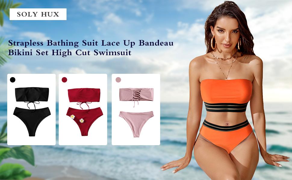 SweatyRocks Strapless Bathing Suit Swimsuit