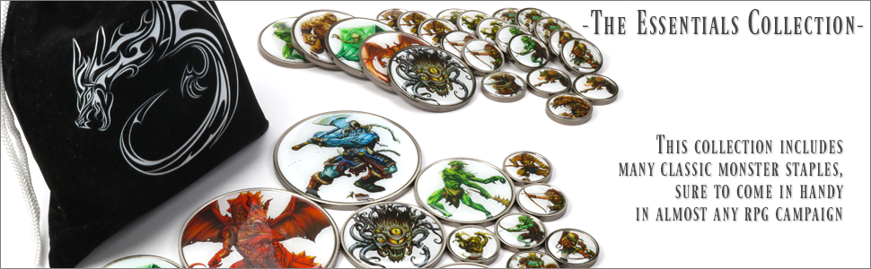 Collection of Monster Tokens and Velvet Carrying Bag
