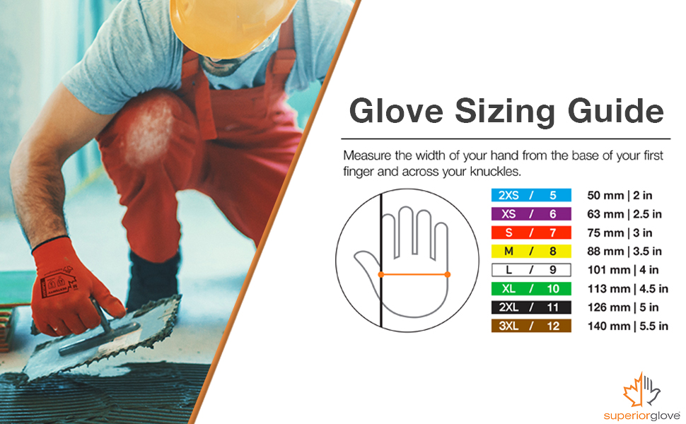 size glove guide construction gloves all weather grip strong heavy duty red black
