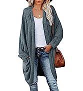 MEROKEETY Womenamp;#39;s Waffle Knit Batwing Long Sleeve Cardigan Loose Open Front Sweater Coat