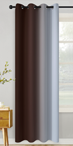Grommet Greyish White and Brown Ombre Room Darkening Ombre Curtains