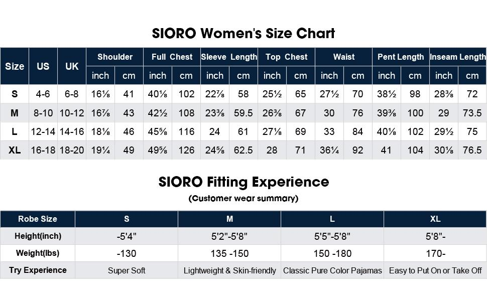 SIORO Size Chart
