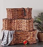 Stack of hyacinth bone-shaped toy baskets