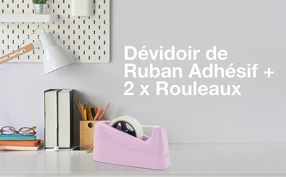 1487 Devidoir de Ruban Adhésif 500 avec Deux Rouleaux - Rose Bonbon