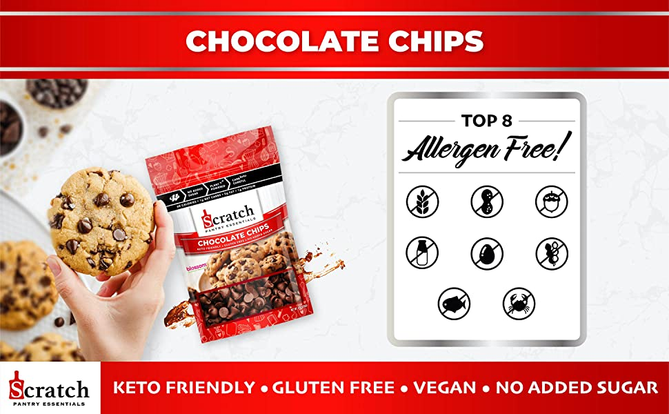 Scratch Kitchen Co. Sugar Free Keto Chocolate Chips, Halo Healthy Tribes