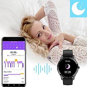 hamshine fitness watch with sleep tracker, helps you better understand your sleep quality.