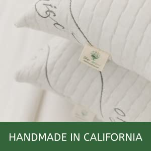 Two pillows made with organic cotton and natural latex handmade in USA