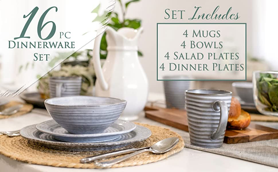 16 piece dinnerware set that includes 4 mugs, 4 bowls, 4 salad plates and 4 dinner pates