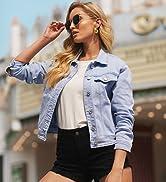 GRAPENT Womenamp;amp;#39;s Basic Buttons Down Denim Jacket Classic Jean Trucker Jacket Coat
