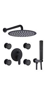 12 inch black shower  system