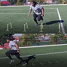 Man running through hurdles
