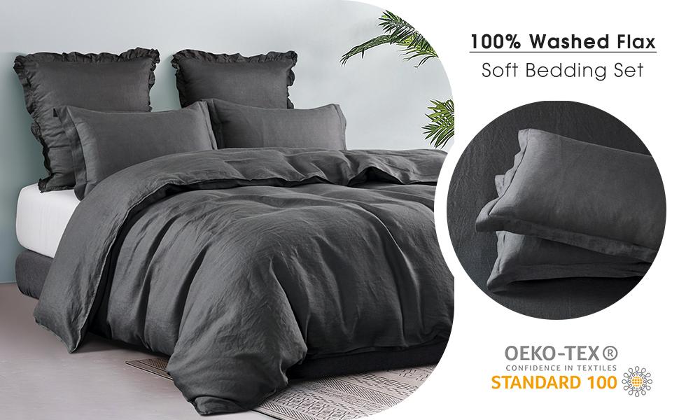 100% French linen duvet cover set