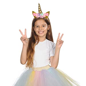 unicotn headdress assessories ribbon cosmic favors bday  silly animal headband girl unicorn costume