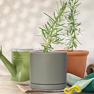 Planters with Drainage Hole amp; Attached Saucer for Indoor Plants Flower Succulent