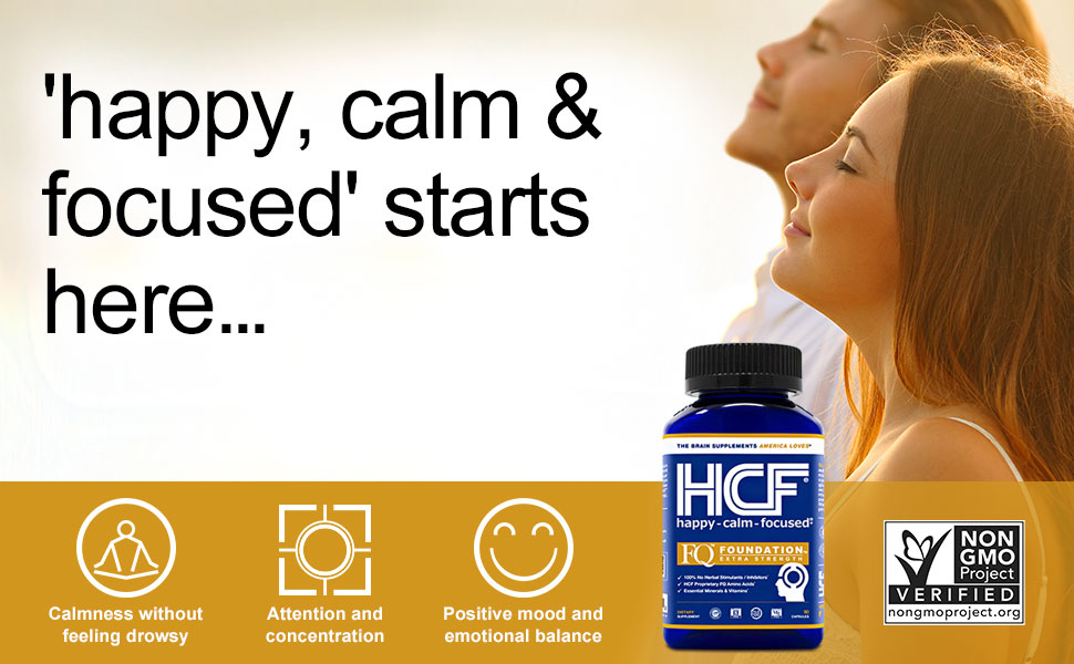 HCF Happy Calm Focused attention supplement focus vitamins concentration pills mood brain booster