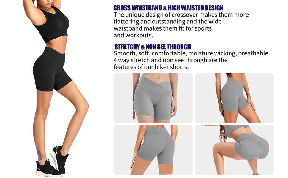 cross waistband yoga shorts