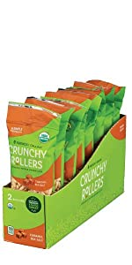 Friendly Grains Crunchy Rollers Caramel Sea Salt. Allergen Friendly puffed brown rice snacks.
