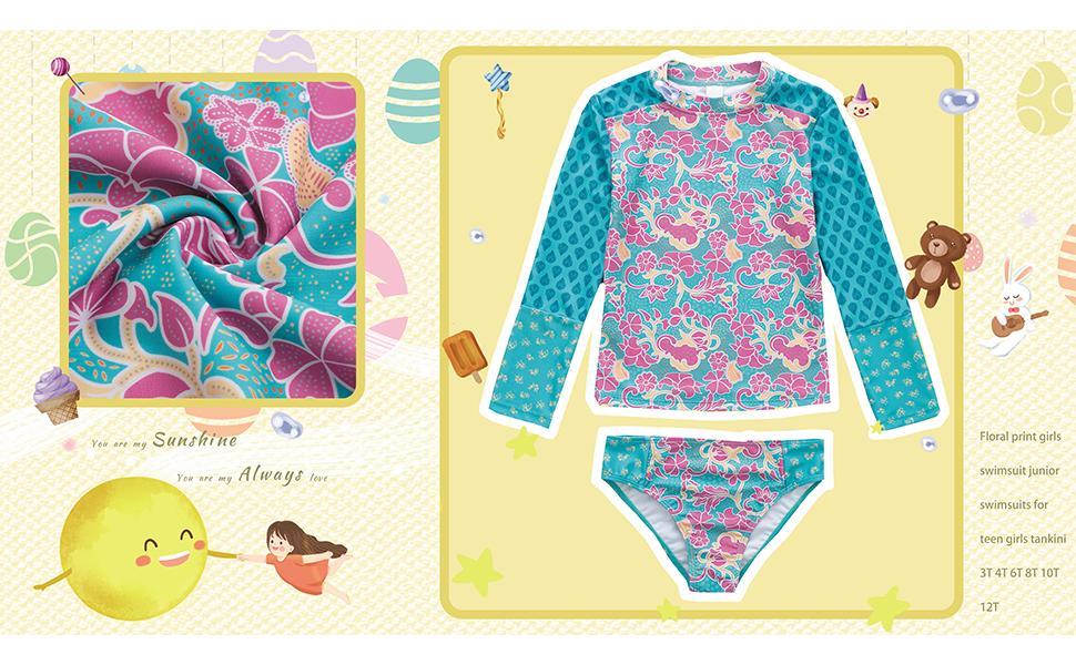 BIKINX Girls Rash Guard  2 Piece Swimsuit Set Long Sleeve Floral Print Bikini