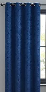 Redmont Collection Grommet Window Curtain Navy Blue