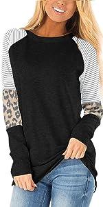 AYIFU womens casual fall long sleeve leopard stripe color block tunic tops