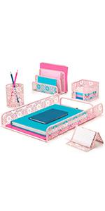 pink sunflower desk organizer