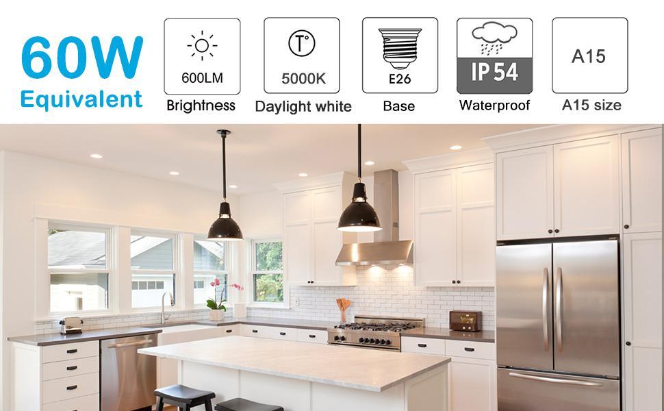 5000k daylight white a15 60w replacement appliance light bulb refrigerator light bulb