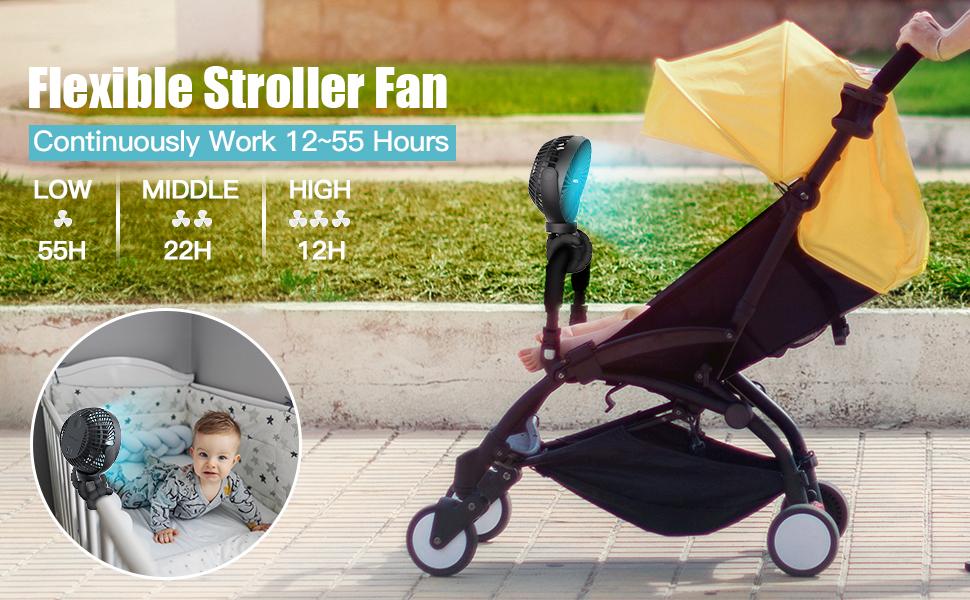 Baby stroller fan 12000mah battery powered small fan